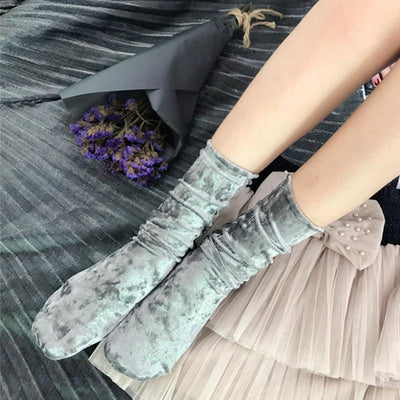 Girly Velvet Retro Socks