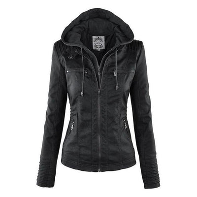 Croft Faux Leather Hooded Jacket