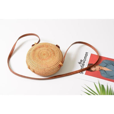 Circle Straw Bag Brown Buckle
