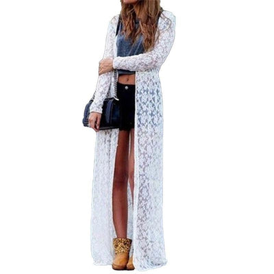 Delicate Floral Lace Long Cardigan 2 Colors