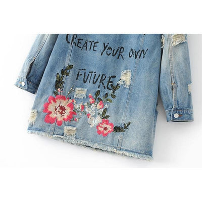 My Way Denim Jacket with Floral Embroidery