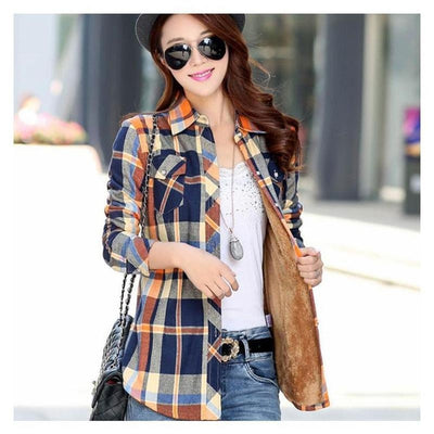 Mei - Warm Women's Plaid Shirt