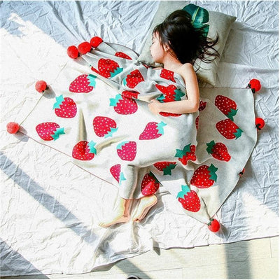 Strawberry Knitted Ball Child Blanket