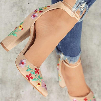 Teofila Embroidered Strap Shoes