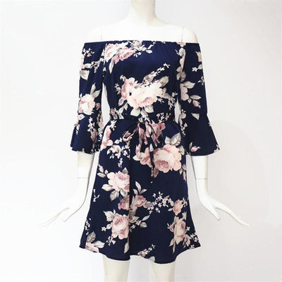 Off-Shoulder Floral Chiffon Dress