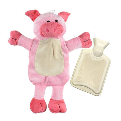 Piggy - Hot Water Bottle with  Soft  Animal Cover