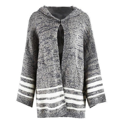 Grey White Stripes Cardigan