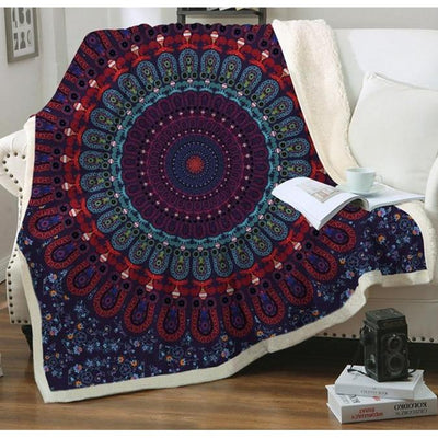 Dark Pattern Reversible Sherpa Blanket