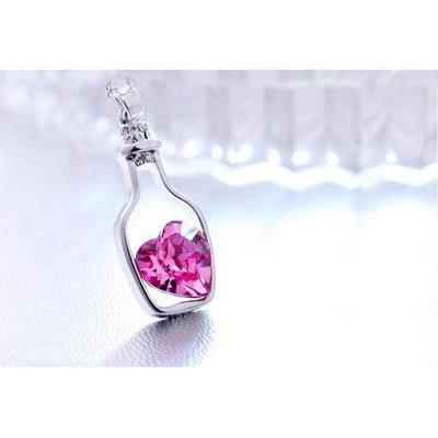 Crystal Heart In A Bottle Necklace