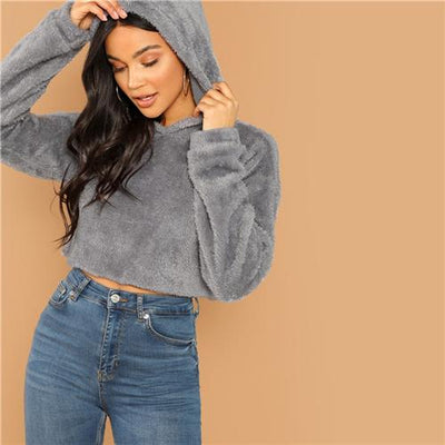 Drop Shoulder Teddy Hoodie