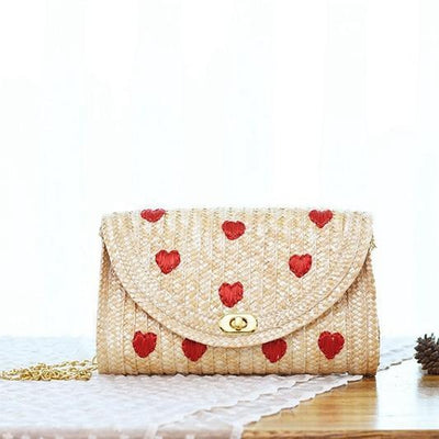 Cherries Straw Crossbody Bag