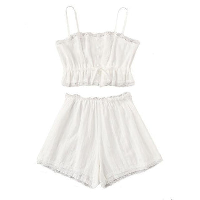 White Rustic Lace Pajama Set