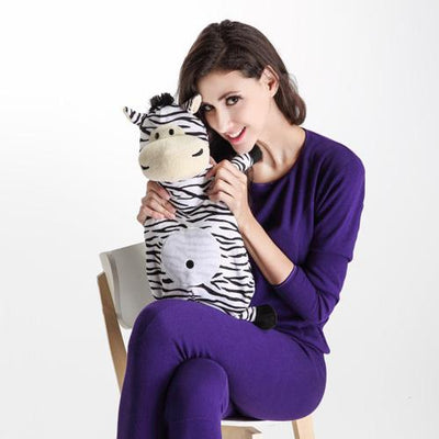 Zebra - Hot Water Bottle with Soft  Animal Cover