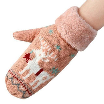 Fluffy  Deer Wool Knitted Mittens