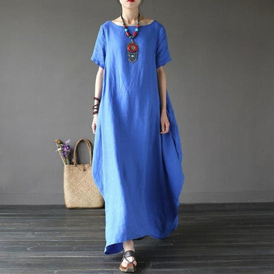 Trendy Baggy Boho Dress Short Sleeves