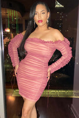 Pink Mesh Ruched Dress