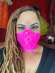 Neon Pink Sequin Mask