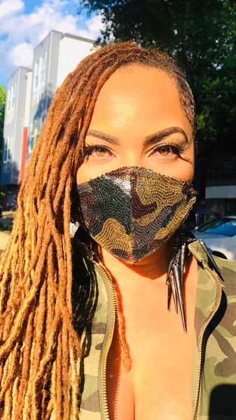 Army Fatigue Sequin Mask