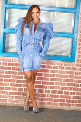 Puffer Sleeve Denim Dress