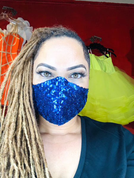 Blue Sequin Mask