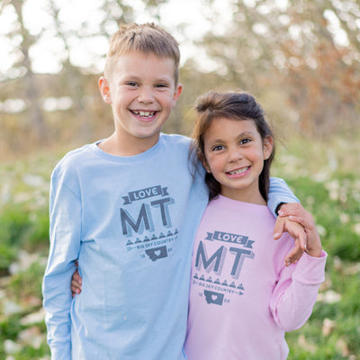 Hand Screen Printed Love Montana Long Sleeve Pink Kids T-Shirts