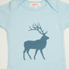 Hand Screen Printed Elk with Pattern Light Blue Kids 18-24 months T-Shirt