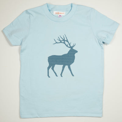 Hand Screen Printed Elk with Pattern Light Blue Kids T-Shirt