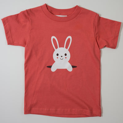 Hand Screen Printed Bunny Popping Out Kids Organic T-shirt