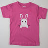 Hand Screen Printed Bunny Popping Out Kids Pink T-shirt