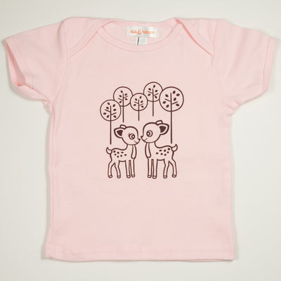 Hand Screen Printed Deer Pink Kids 18-24 Months T-Shirt