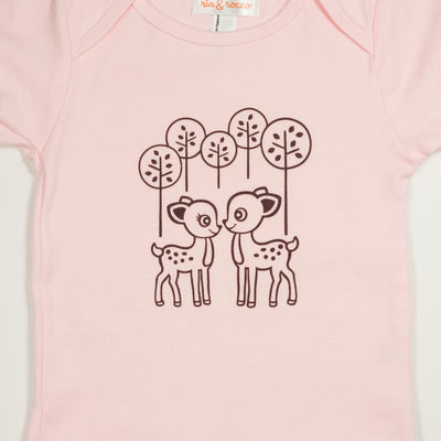 Hand Screen Printed Deer Pink Baby Onesie