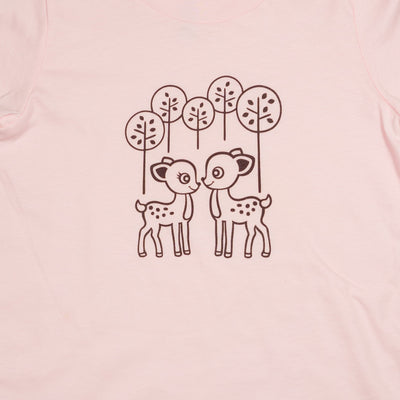Hand Screen Printed Deer Pink Kids T-Shirt