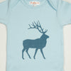 Hand Screen Printed Elk with Pattern Light Blue Baby Onesie