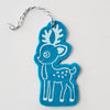 Ornament - Hand Screen Printed Wool Felt Reindeer Cyan