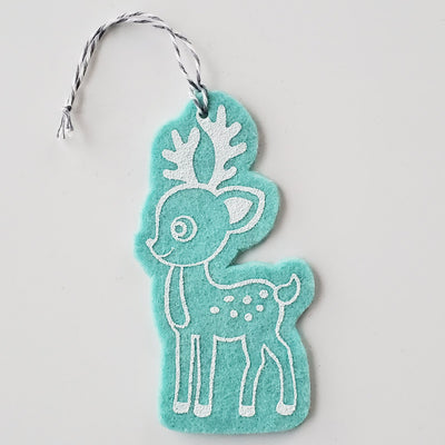Ornament - Hand Screen Printed Wool Felt Reindeer Light Blue