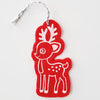 Ornament - Hand Screen Printed Wool Felt Reindeer Red