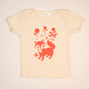 Hand Screen Printed Friendly Foxes Cream Kids 18-24 Months Organic T-Shirt