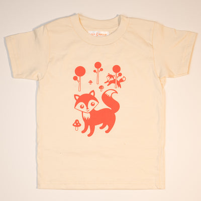 Hand Screen Printed Friendly Foxes Cream Kids Organic T-Shirt
