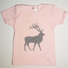 Hand Screen Printed Elk with Pattern Pink Kids Size18-24 months T-shirt