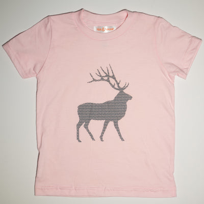 Hand Screen Printed Elk with Pattern Light Pink Kids T-Shirt