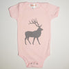 Hand Screen Printed Elk with Pattern Pink Baby Onesie