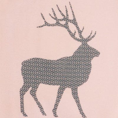 Hand Screen Printed Elk with Pattern Light Pink Kids Size18-24 months T-shirt