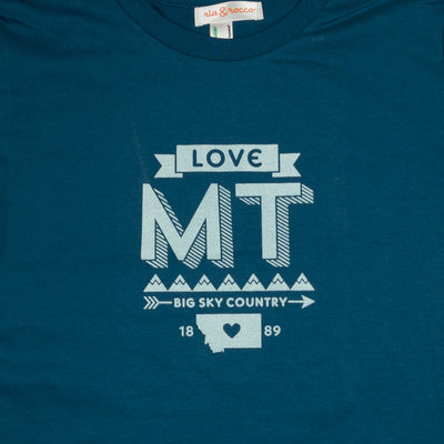 Hand Screen Printed Love Montana Ocean Blue Unisex/Mens Organic T-Shirt