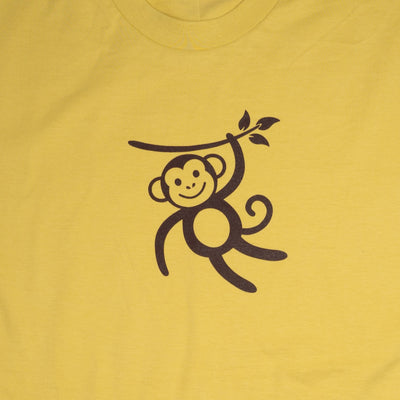 Hand Screen Printed Monkey Swinging Mustard Unisex/Mens Organic T-Shirt