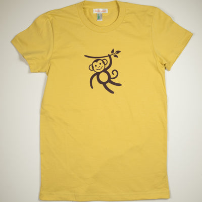 Hand Screen Printed Monkey Swinging Mustard Women Organic T-Shirt