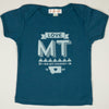 Hand Screen Printed Love Montana Ocean Blue Organic Kids 18-24 Months T-Shirt