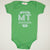 Hand Screen Printed Love Montana Green Baby Onesie