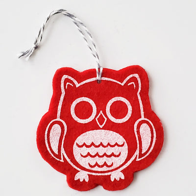 Ornament - Hand Screen Printed Wool Felt Owl Red