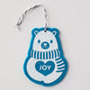 Ornament - Hand Screen Printed Wool Felt Polar Bear JOY Cyan