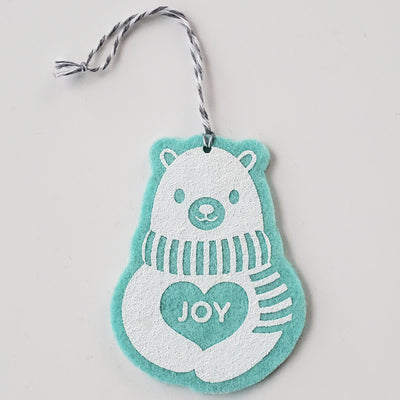 Ornament - Hand Screen Printed Wool Felt Polar Bear JOY Light Blue